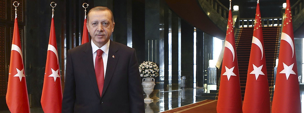 Turkish President Recep Tayyip Erdogan in the new Ak Saray presidential palace (White Palace) on the outskirts of Ankara