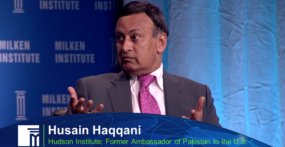 Amb. Husain Haqanni speaks at the Global Risk Conference at Milken Institute, April 28, 2014