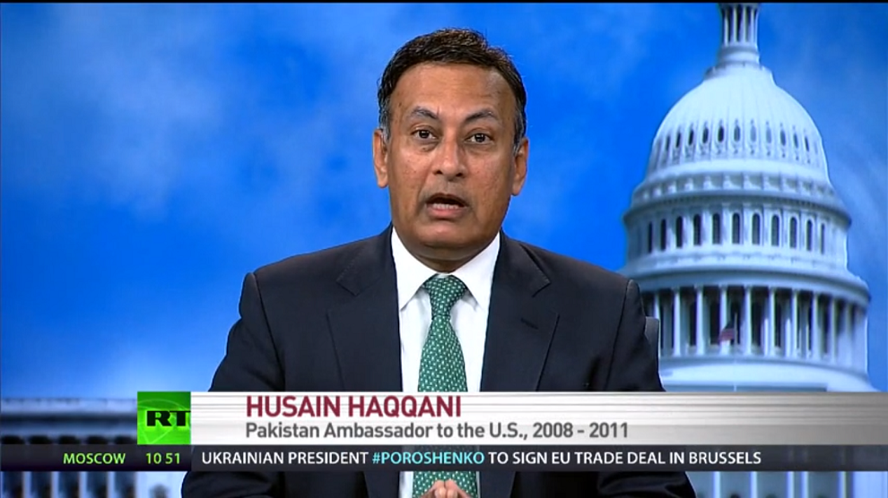 Amb. Haqqani on the use of drones against the Taliban, Russia Today, June 27, 2014
