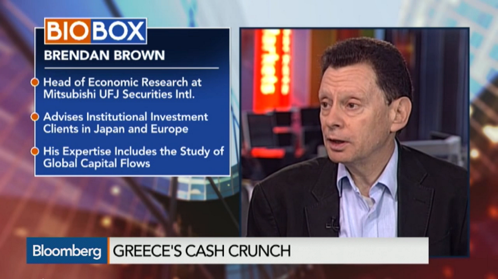 We Are Approaching a Decisive Point With Greece: Brown, Bloomberg Business, April 27, 2015