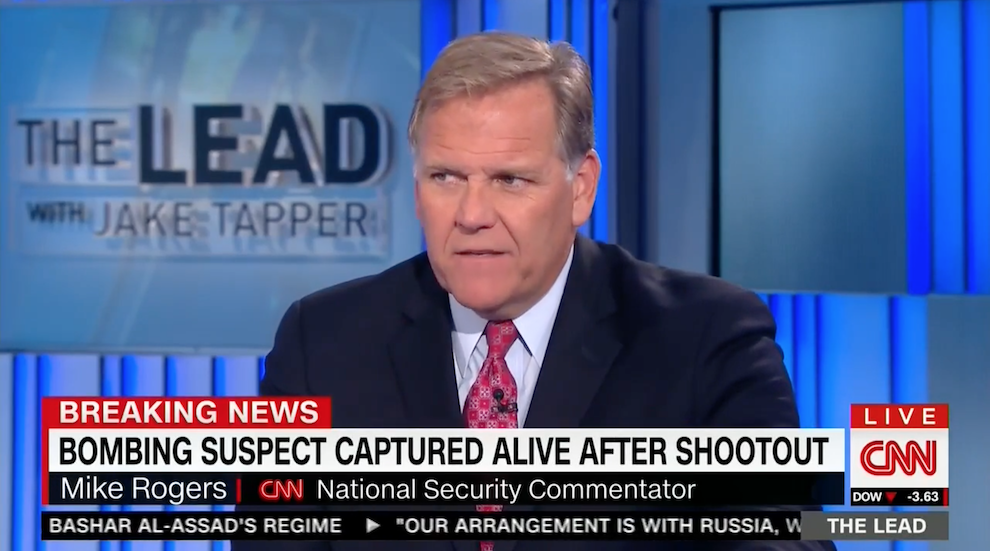 Mike Rogers Talks Investigation into NY/NJ Bomber, CNN, September 19, 2016
