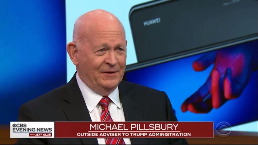 Michael Pillsbury joins CBS Evening News to discuss the arrest of a top Huawei executive, December 6, 2018