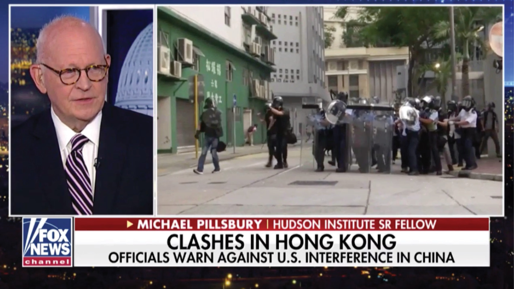 Michael Pillsbury discussed the U.S. reaction to the Hong Kong protests.