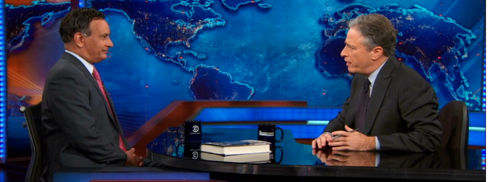 Haqqani discusses U.S.-Pakistan Relations with John Stewart on <i>The Daily Show</i>, December 9, 2013